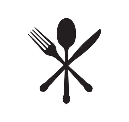 Vector illustration of the fork, spoon and knife Vector Illustratie