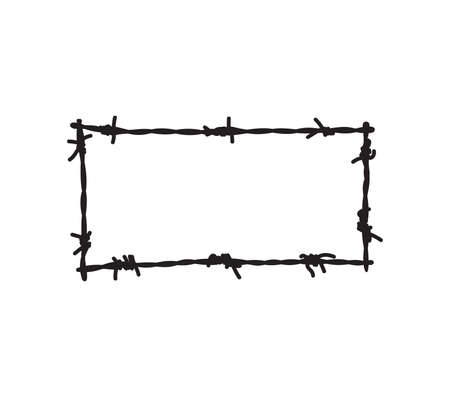 Vector illustration of the barbwire frame Vettoriali
