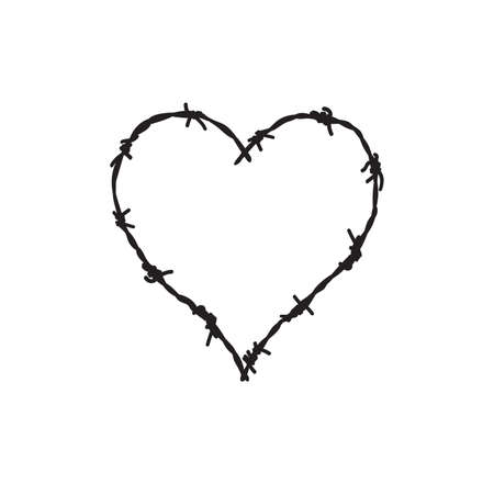 Vector illustration of the barb wire heart