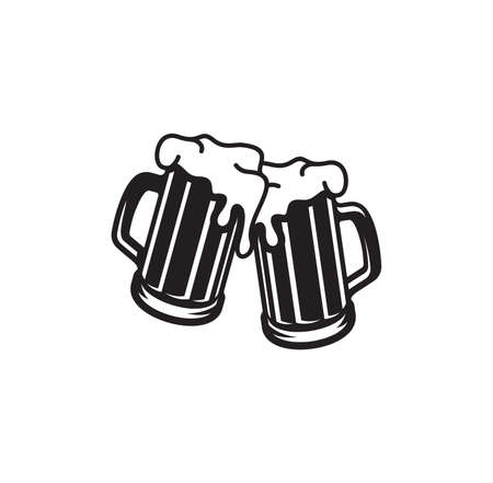 Vector illustration of the beer mugs toasting Illusztráció