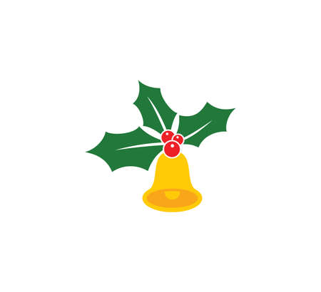 Vector illustration of the Christmas Holly Berry with yellow bell