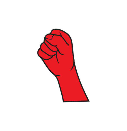 Vector illustration of the red revolution fist