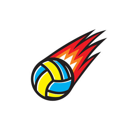 Vector illustration of the volleyball ball on fire