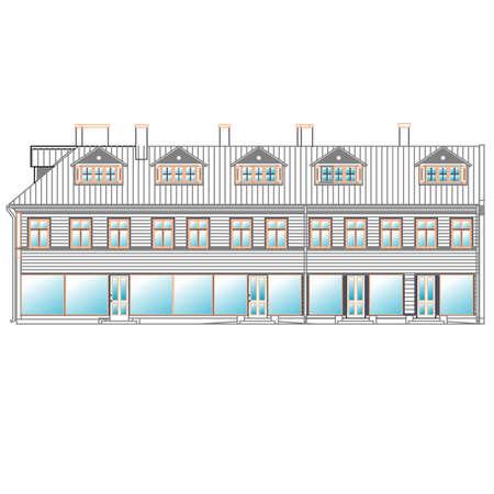 balcony view: architecture, facade Illustration