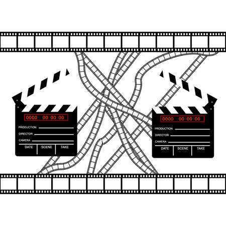 cinemas clapper with film frame Stock Vector - 5846589