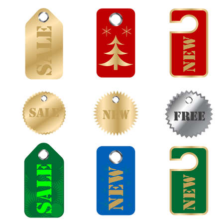 Vector set of tags Illustration