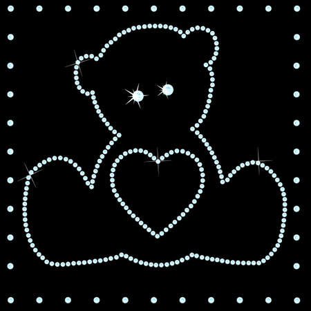 Teddy made of many diamonds Vector