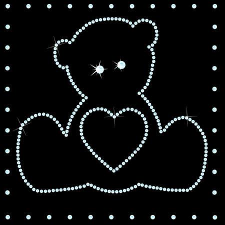Teddy made of many diamonds