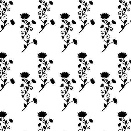 Vector floral black and white composition