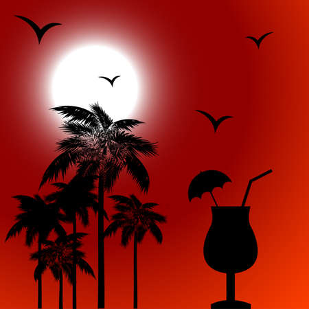Red tropical background with palm Vector