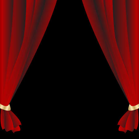 Red theatrical curtain on the black background