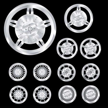 auto wheels, chrome Illustration