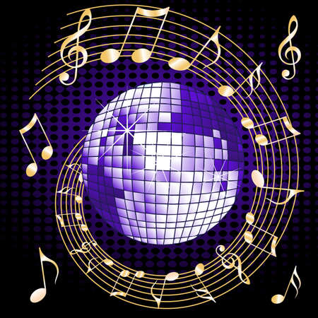 Disco ball with notes and music Illustration