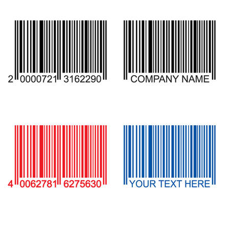colored barcodes, black, red, blue