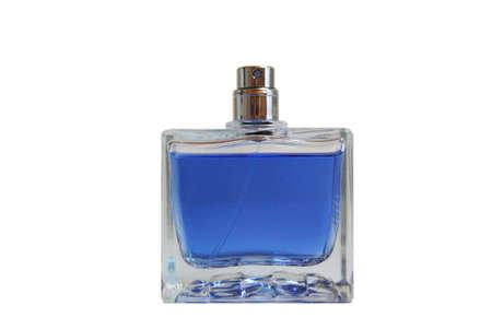 Blue perfumes on the white background Stock Photo