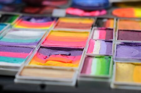 Set of watercolor paints in a box. Selective focus. Stock Photo