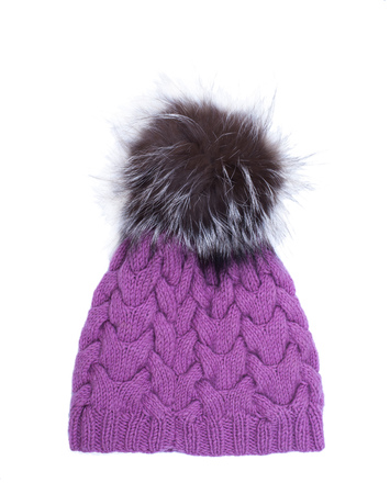 Violet knitted woolen hat with pompom isolated on white background Stock Photo