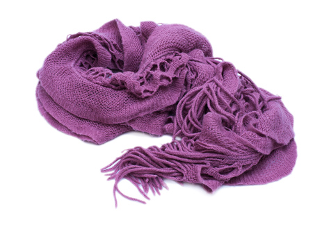 ilness: Violet knitted woolen scarf isolated on white background Stock Photo