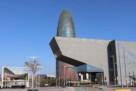 Akbar Tower and Barcelona Design Museum in Plaza de les Glori es Catalanes Square (Pla?a de les Gl?ries Catalanes) Catalonia, Spain