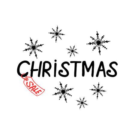 Christmas sale lettering with decor on white background Ilustração Vetorial