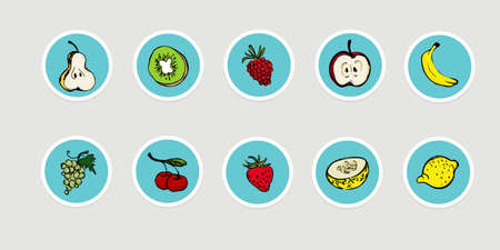 Hand drawn fruit icon set, vector illustration 向量圖像