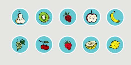 Hand drawn fruit icon set, vector illustration Vettoriali