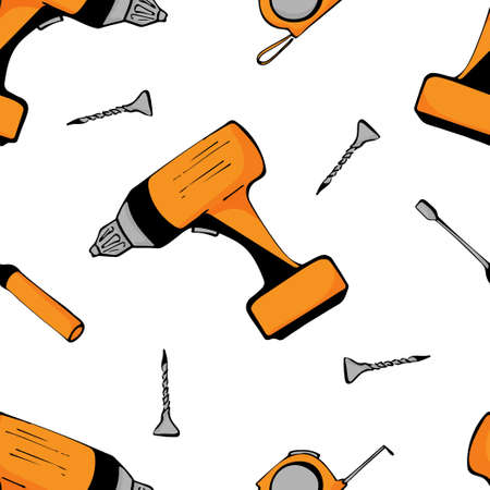 Drilling machine tools seamless pattern on white background