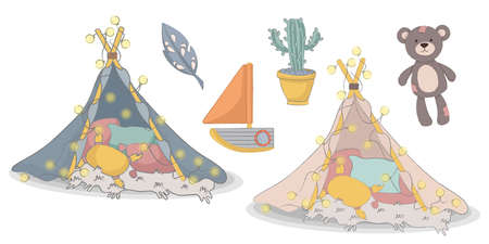 Child room decor set canopy bear boat cactus Banque d'images