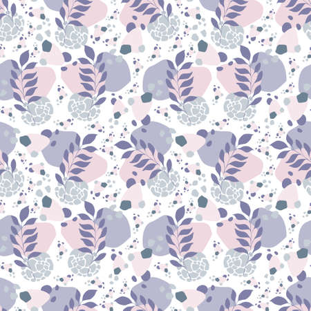 Abstract shapes floral pattern seamless rose grey purple