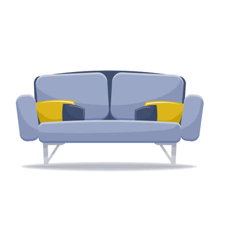 Sofa with pillows vector illustration isolated on white background.