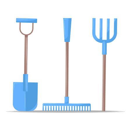 Blue gardening tools shovel rack pitchfork isolated on white Vector Illustratie