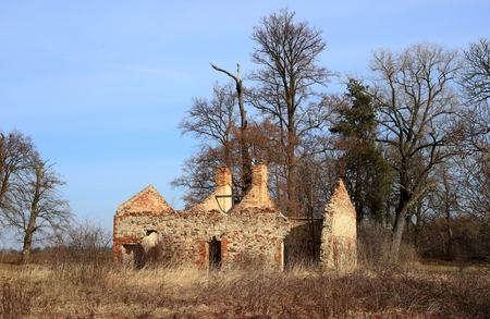 ruins of an old Polish brick house