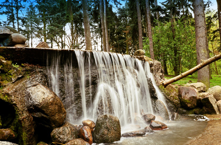 waterfall in the park In Warsaw 스톡 콘텐츠