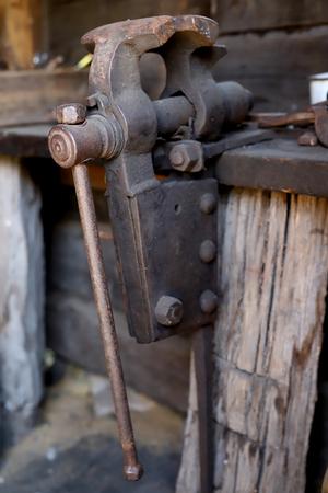 old blacksmiths vise Zdjęcie Seryjne