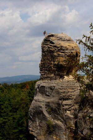 Hrub? Sk?la Rocks, rock climbing, rock climber on the rock