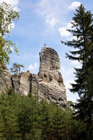 Hrub? Sk?la Rocks, rock climbing Reklamní fotografie