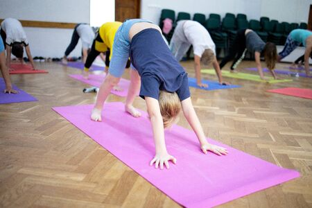 young people doing fitness exercise, yoga 写真素材