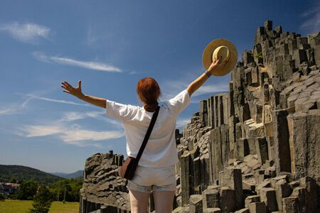 Pansk? Sk?la - Fascinating Rock in Northern Bohemia, happy woman traveler