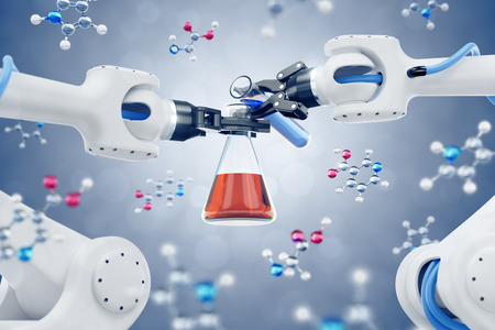 Automated Chemical Synthesis. By using laboratory tubes filled with colored liquids among the organic molecules. 3D rendering graphics on the subject of 'Modern Biotechnology'.