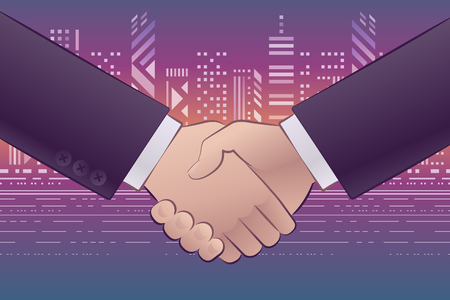 Business Agreement. Graphic illustration on the subject of 'Business Partnerships and Relations'.