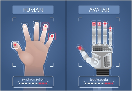 Human To Robot / Avatar Interface. Men's hands and robot hands, synchronizing and interacting through the computer interface. Graphic illustration on the subject of 'Future Technology'. Иллюстрация