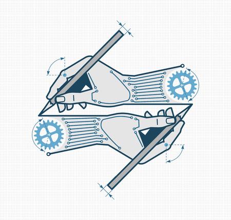 Creative Designing & Engineering. Vector illustration on the subject of 'Industrial Design / Engineering'. Vektorové ilustrace