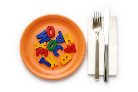 Metaphoric Food For Thought. Alphabetical letters on white background.
