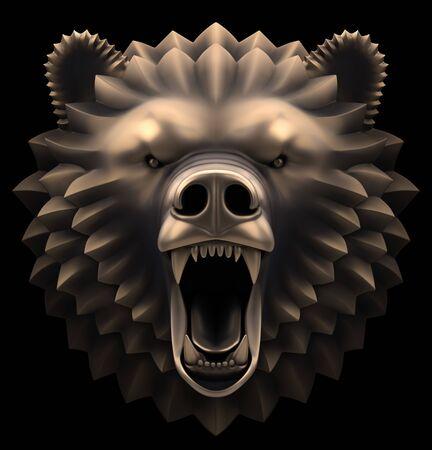 Bear's Head. Artistic bronze sculpture of a head of a roaring bear. 3D rendered image.