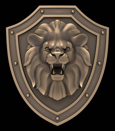 Lion's Head Blazon. Artistic sculpture of a lion's head on the shield, isolated on black background. 3D rendering image.