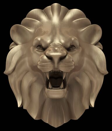 Lion's Head. Artistic bronze sculpture of a lion's head, isolated on black background. 3D rendering image.
