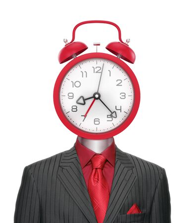 Bizarre Time-Manager. Businessman dressed in striped suit with an alarm clock instead of a head. Photo and graphic composition.
