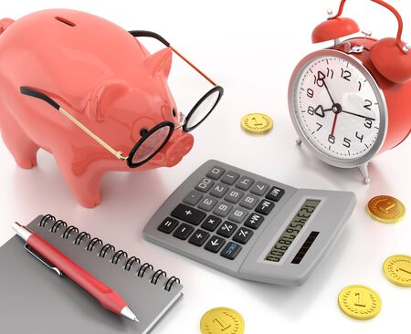 Piggy Bank Accounting. Illustration on the subject of 'Financial Accountancy'. 3D rendered graphics on reflective white background. Фото со стока - 129517748