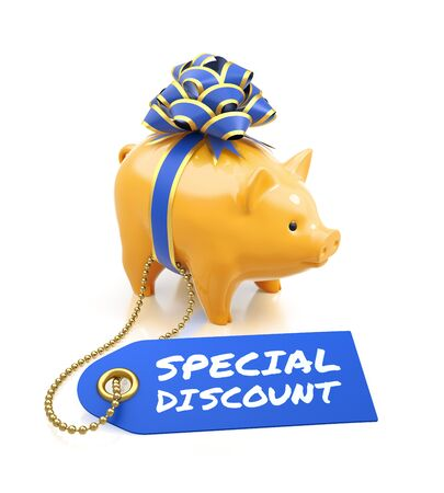 Festive Sale. Coin bank tied with a blue bow beside of a sale tag on reflective white background. 3D rendering image.