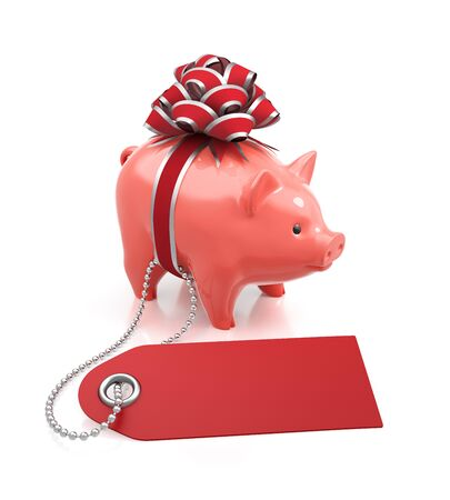 Festive Savings Bank. Coin bank tied with a red bow beside of a percent tag on reflective white background. 3D rendering image.